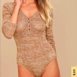 The Rogue heather tan long sleeve knit bodysuit